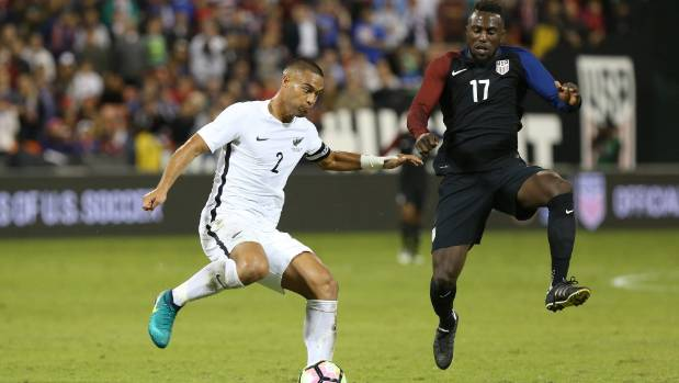 Winston Reid on the ball during the All Whites' 1-1 draw with the USA last year.