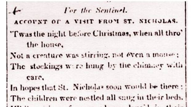 "First publication of the poem ""The Night Before Christmas"" in the Troy Sentinel, 1823."