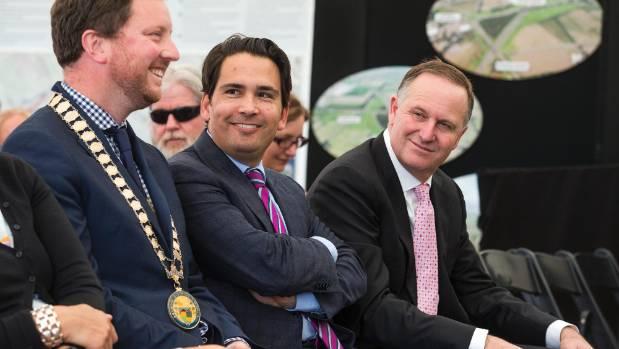 From left: Selwyn District Mayor Sam Broughton, Transport Minister Simon Bridges, and Prime Minister John Key during the ...