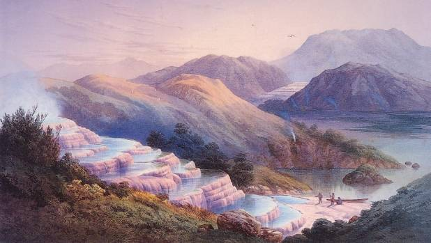 JC Hoyte's painting of the Pink and White Terraces in the 1870s, prior to the eruption of Mt Tarawera in 1886.