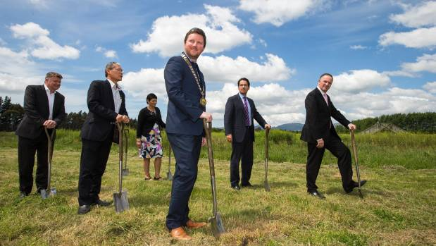 Selwyn Mayor Sam Broughton, centre-front, joins Prime Minister John Key, right, and others for the offical launch of the ...
