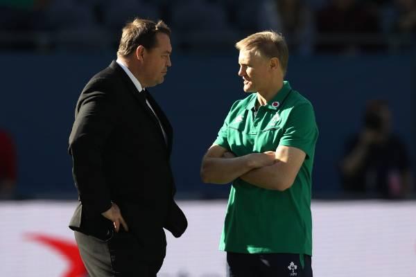 All Blacks coach Steve Hansen and Ireland counterpart Joe Schmidt exchange a few words ahead of their teams' clash at ...