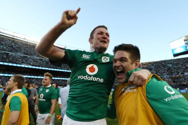 Donnacha Ryan celebrates Ireland's first ever victory over the All Blacks, at Soldier Field in Chicago.