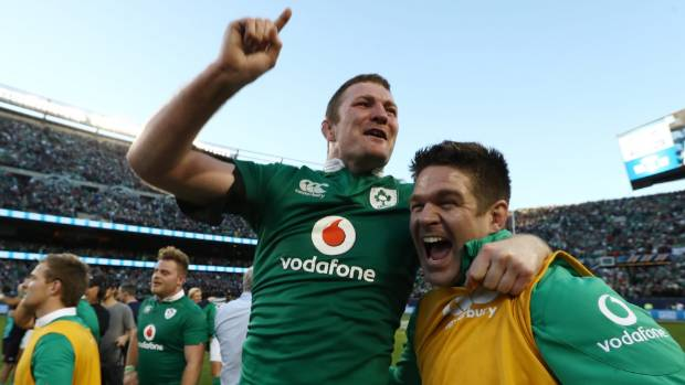 Donnacha Ryan celebrates Ireland's historic victory over the All Blacks at Soldier Field in Chicago.