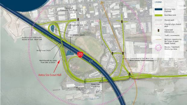 NZTA's preferred plan for the East West Link through Onehunga.
