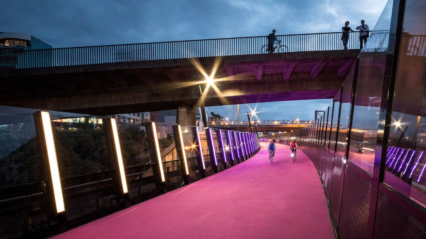 Pink Led Lights >> Auckland's hot pink cycleway the 'Lightpath' picks up international award | Stuff.co.nz
