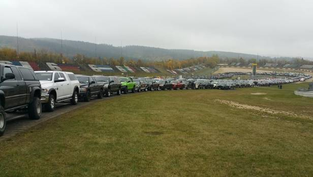 Ram trucks are bumper to bumper for the world record gathering at Nurburgring.