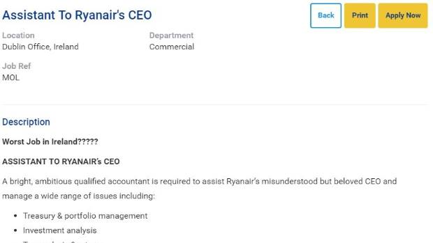 Ryanair advertises for personal assistant to CEO labels it the – Personal Assistant Job Description