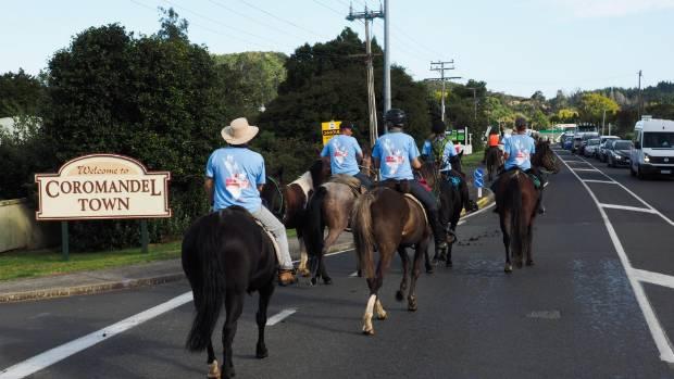 Riding into Coromandel town on the way to the tip of the peninsula, during the 100km Tour de Coromandel.