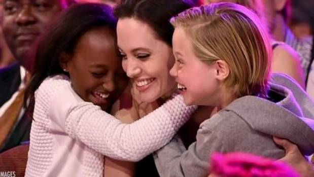 Angelina Jolie with Shiloh and Zahara.