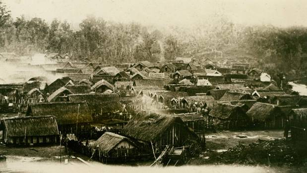 Parihaka pictured about 1881, before the invasion of the armed constabulary.