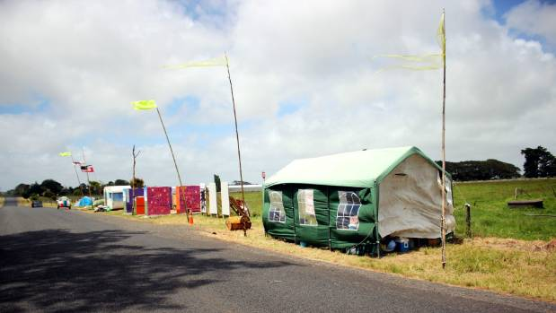 The tents pitched at Ihumatao to protest development.