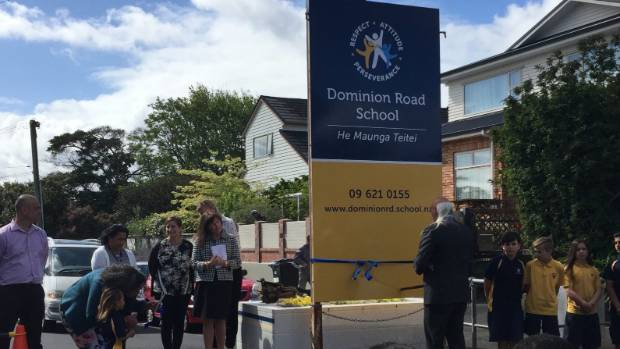 Dominion Road School has unveiled its new name Dominion Road School He Maunga Teitei.