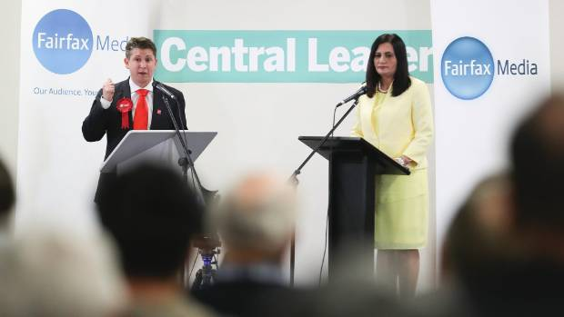 The stage at the Fickling Centre saw Labour's Michael Wood and National's Parmjeet Parmar go head-to-head.