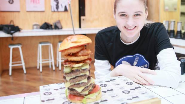 Nela Zisser sets the time to beat for Eat Burger's new monster burger.