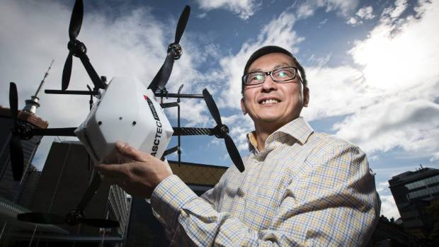 Albert Wang from AUT University pictured with one of the new age smart drones soon to be patrolling our skies.