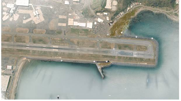 An aerial map of Wellington Airport with the proposed runway extension to the south.  Wellington International Airport ...