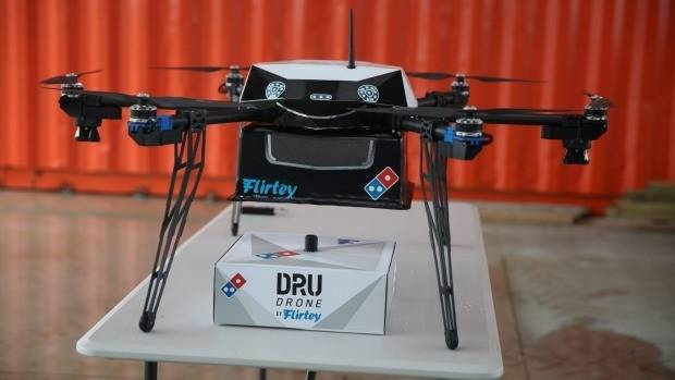 Image of prototype pizza delivery drone.