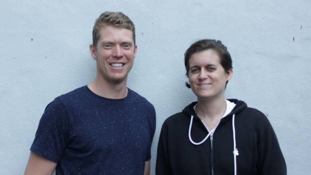 Sam Blackmore (left) and Katie Graham, co-founders of MyBitcoinSaver.co.nz, a Bitcoin savings company based in Auckland.