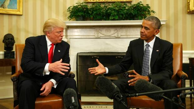 U.S. President Barack Obama shakes hands with President-elect Donald Trump (L) to discuss transition plans in the White ...