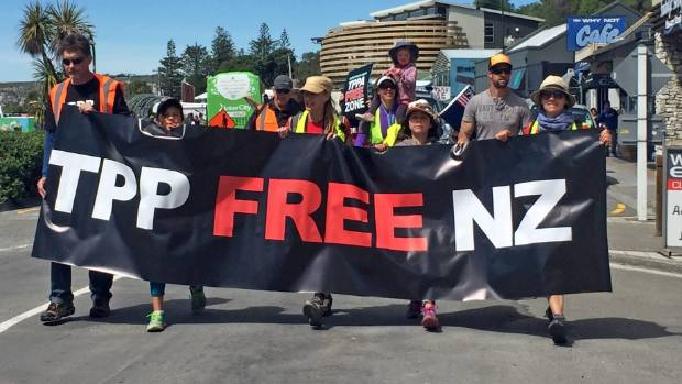 Marchers protest against the TPPA, which was signed by the New Zealand Government but rejected by the US ...
