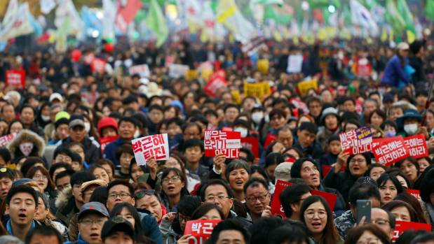 On November 12 thousands of South Koreans protested demanding President Park Geun Hye step down