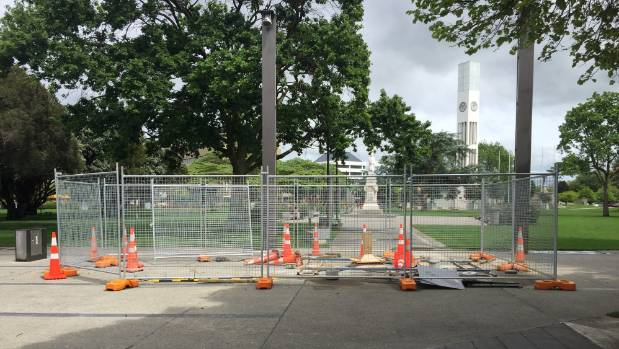 A site has been prepared for Palmerston North's next public sculpture on the corner of The Square looking toward the ...