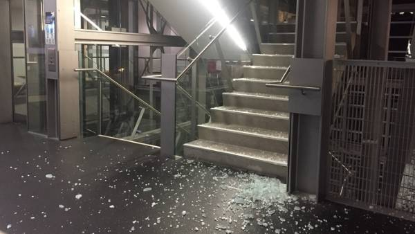 Shattered glass in the stairwell of Wellington's Spark building.