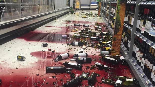 Bottles of wine fell from shelves at a Nelson supermarket.