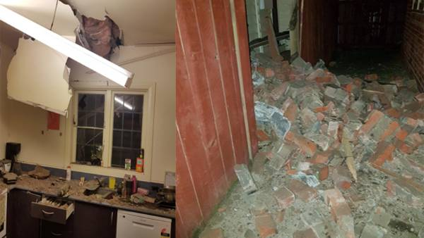 Earthquake damage at a Wellington home.