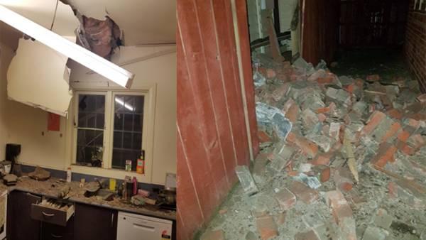Earthquake damage at a Wellington home.