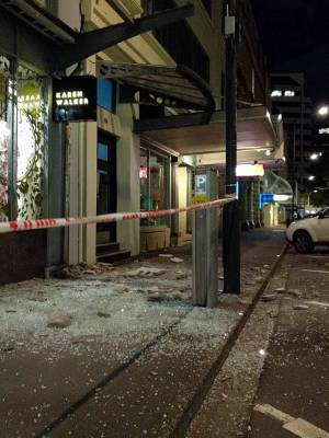 Damage to buildings on Wakefield Street, Wellington.