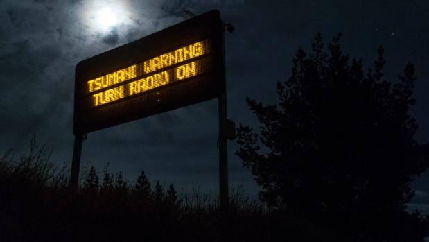 A tsunami warning sign south of Hanmer Springs on Monday morning.