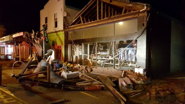 Serious earthquake damage in Blenheim town centre.