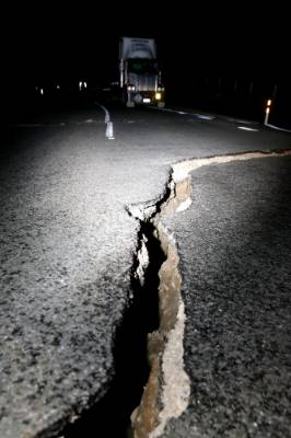 Damage to SH 1, near Ward, an hour north of Kaikoura, following Monday morning's 7.5 quake.