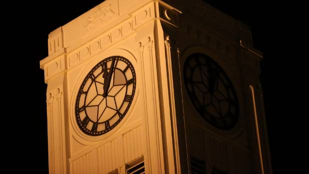 The Timaru town clock shook to a halt just after the quake hit.