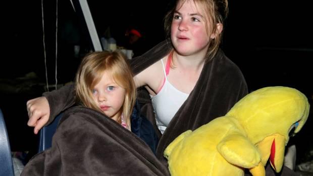 14112016 News Photo  - Derek Flynn/Fairfax NZ. Major earthquake strikes Marlborough. Indie Beer (4) and Emily Elliott ...