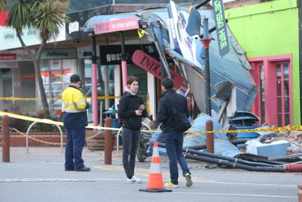 Building damage on High St, Picton following Monday morning's earthquake.