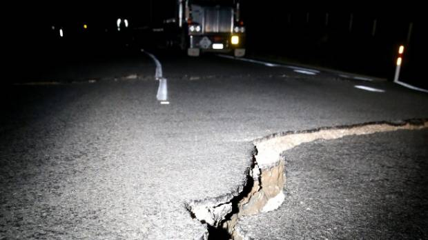 Damage to State Highway 1, near Ward, an hour north of Kaikoura, following Monday morning's 7.5 quake.