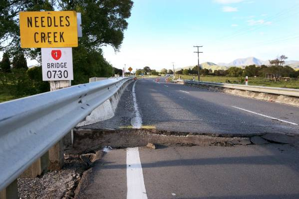 Damage to Needles Bridge, north of Ward, Marlborough.