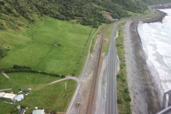 Slip near SH1 south of Kaikoura.