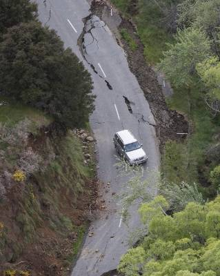Major road damage near Mt Lyford.