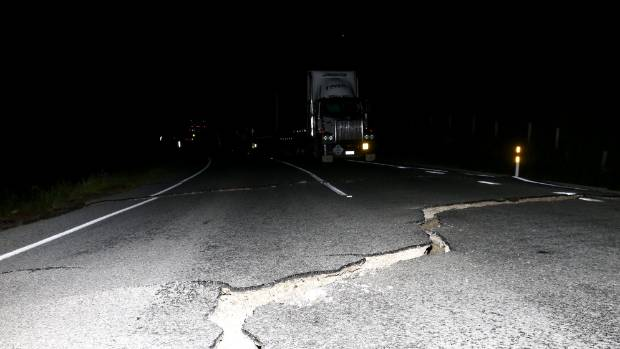 Cracks on State Highway 1, north of Ward.