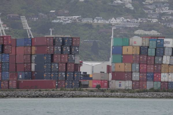Precariously dangling shipping containers seen on CentrePort wharf in Wellington.