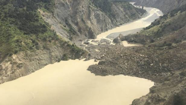 A landslide blocking the Clarence River north of Kaikoura.