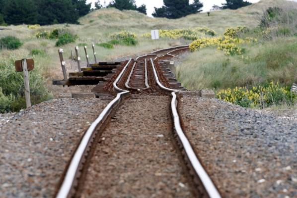 A railway line is damaged by an earthquake, near Tirohanga stream south of Blenheim.