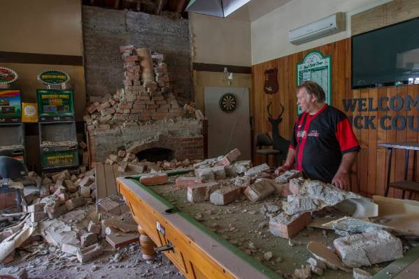 Historic Waiau Pub co-owner Lindsay Collins looks over the damage.