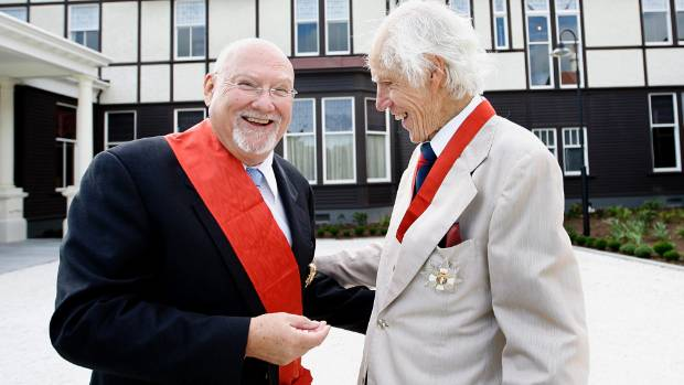 Sir James McNeish after being made a Knight Companion of the NZ Order Of Merit, right, pictured with Sir Raymond Avery.
