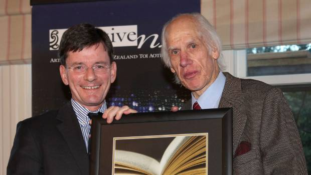 James McNeish, right, receives his Prime Minister's Award for Literary Achievement in 2011 from former Arts Minister ...