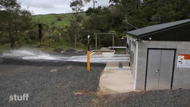 Raglan's Riki Spring UV water treatment plant being flushed.